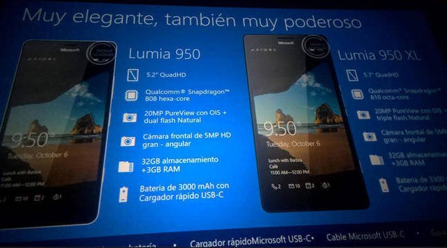 A leaked spec for the Lumia 950