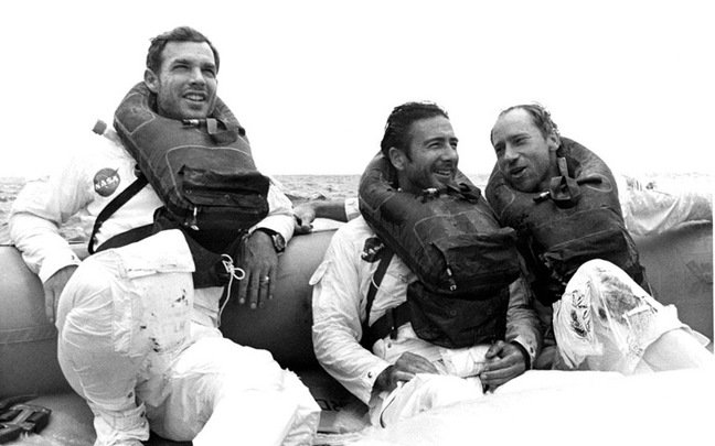 The Apollo 15 crew after splashdown. Pic: NASA