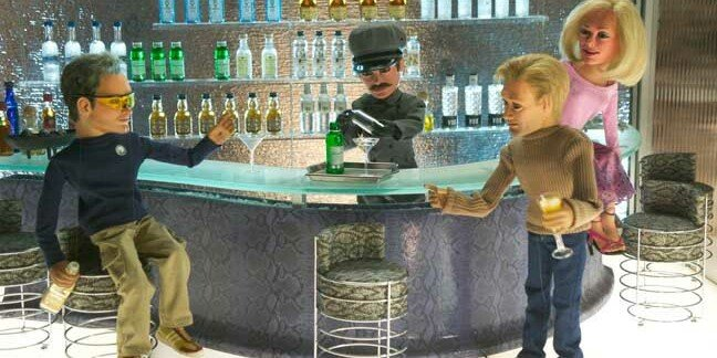The puppets from Team America: World Police gather at a bar for drinks.