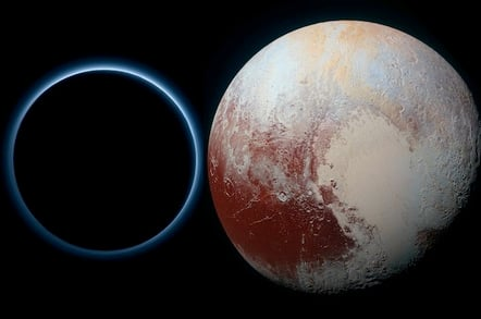 Pluto in blue and red