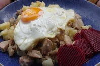 Swedish eggs and meat dish - pyttipanna