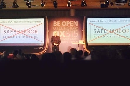 Rafe Laguna, CEO of open source enterprise software company Open Xchange, addresses the audience. Pic by Andrew Orlowski