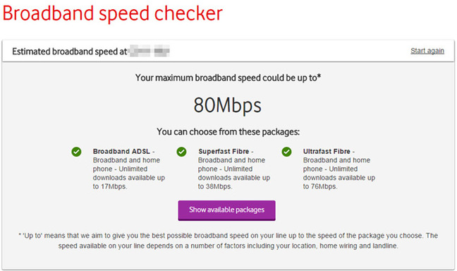 Screen grab of the Vodafone speed checker, showing a potential 80Mbps