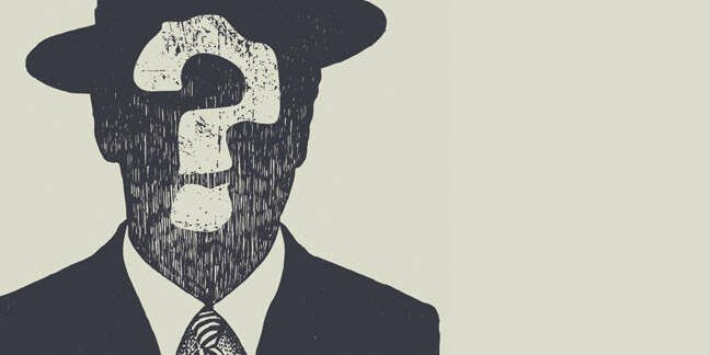 Cartoon man with hat and tie. Facial features replaced by question mark.