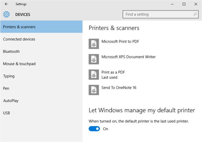 New default printer option in Windows 10