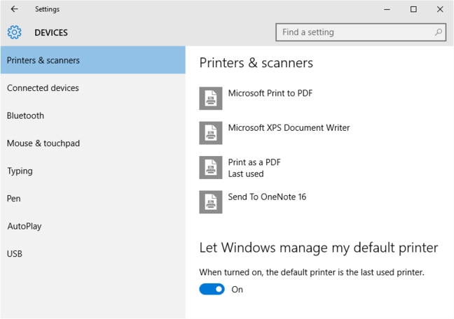New default printer option in Windows 10