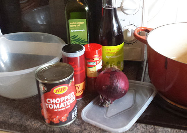 Our man's currywurst ingredients