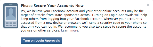 Facebook state-sponsored attack warning dialog