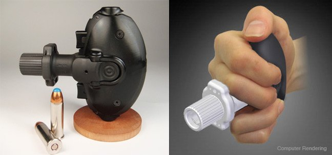 Two views of the Palm Pistol. Pics: Palm Pistol