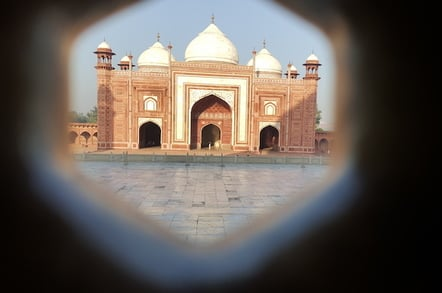 The Mosque at the Taj Mahal, shot from within the Taj Mahal through the marble screens