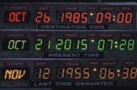 The dashboard in Back to the Future showing the date 21 October 2015