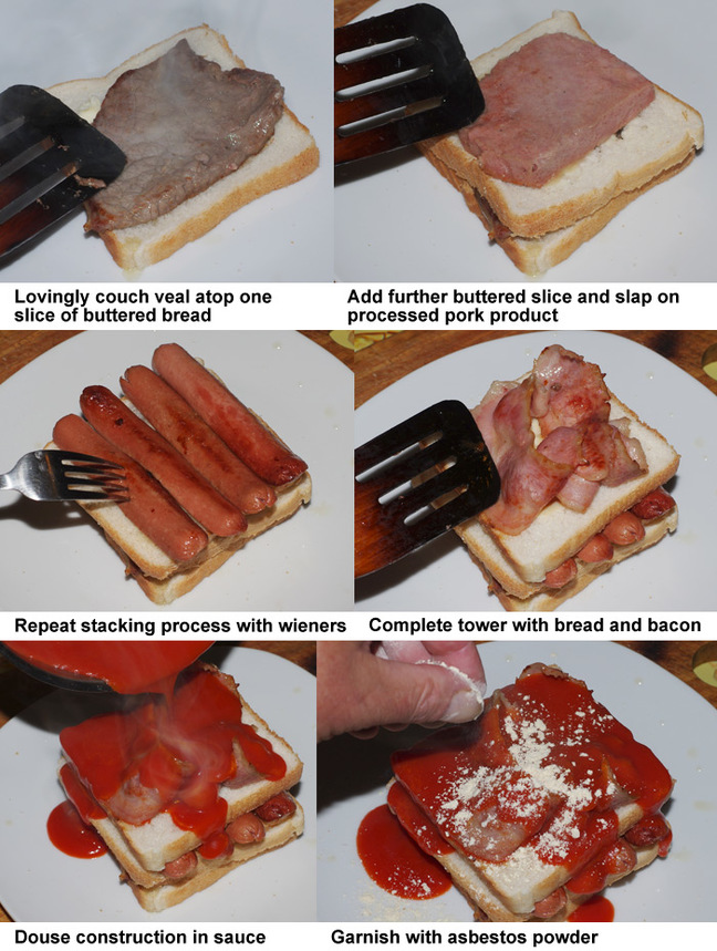 The final six steps in preparing the WHO sarnie of death