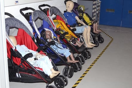 Child sized crash test dummies at the TRL