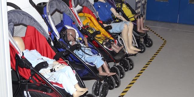 Child sized crash test dummies at the TRL
