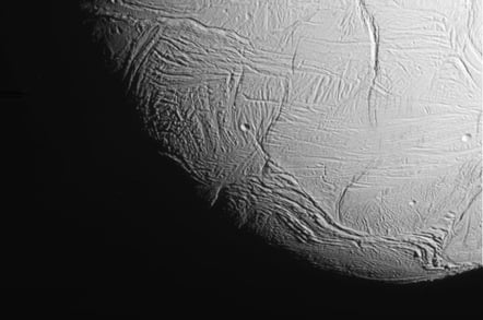 Image of Enceladus taken during Cassini fly-by. Pic: NASA/JPL-Caltech