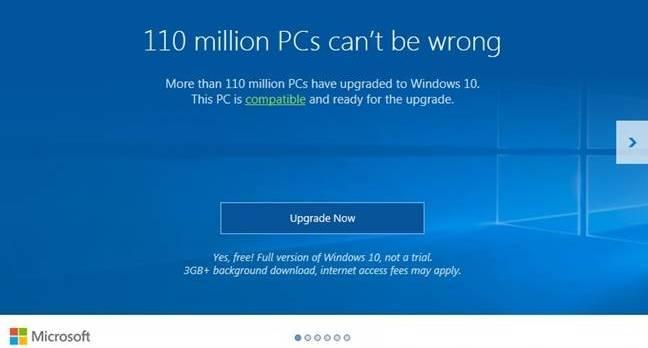 Windows 10 nag screen
