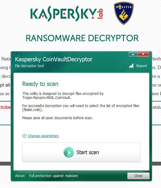 Kaspersky announces 'death' of Coinvault, Bitcryptor