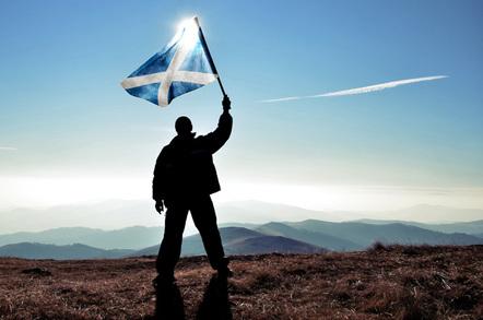 man and scottish flag photo via Shutterstock