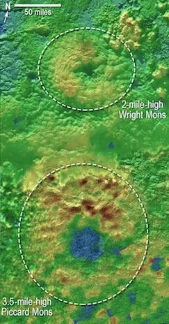 NASA topographic map of Pluto's peaks