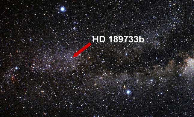 The position of exoplanet HD 189733b