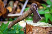 axe buried in tree stump CC0