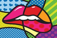 LIPS ON STAINED GLASS WINDOW