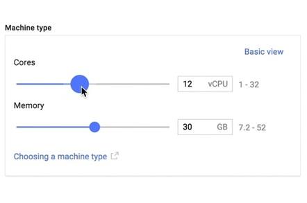 Google's custom cloud server configurator