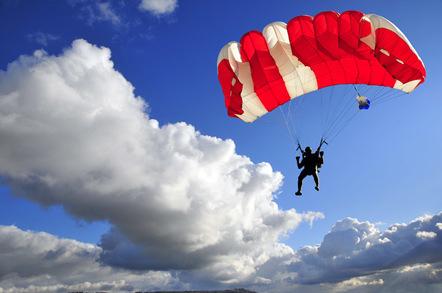 Parachutist image via Shutterstock
