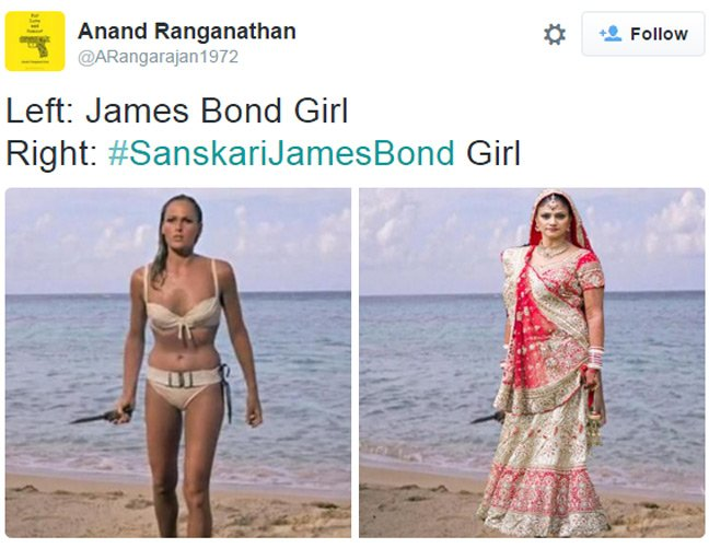 Tweet showing Ursula Andress in famous beach scene replaced with a woman in a sari