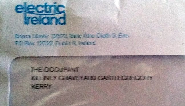 The envelope of the letter from Electric Ireland