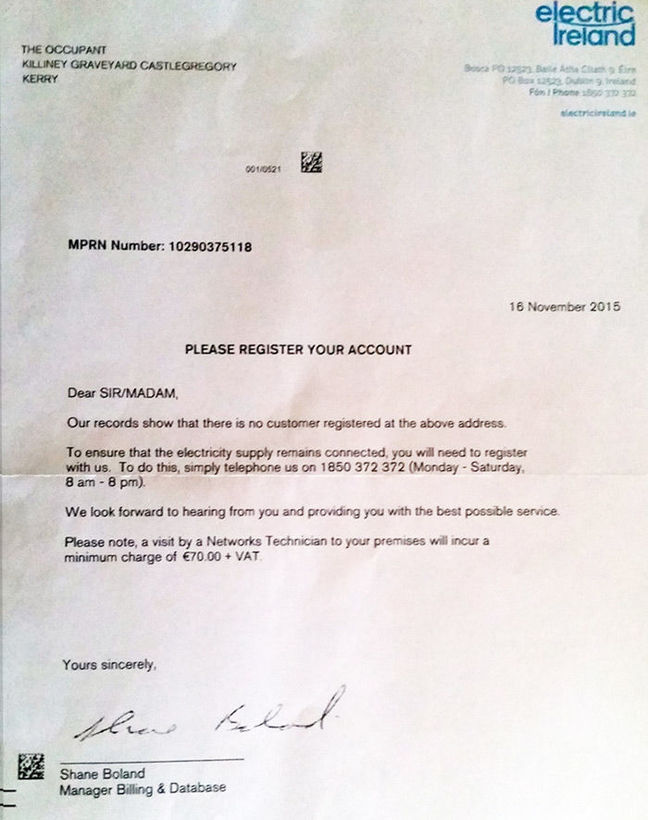 The letter from Electric Ireland