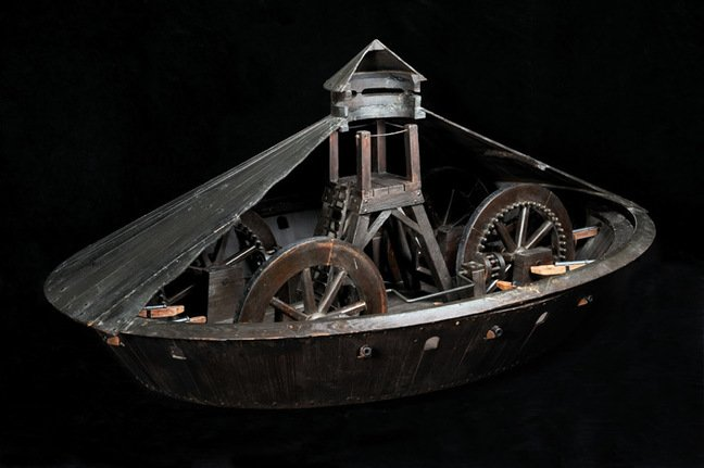 Model of da Vinci's armoured vehicle. Pic: Science Museum
