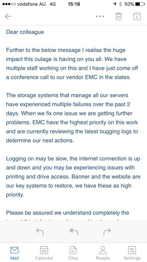EMC NZ outage email