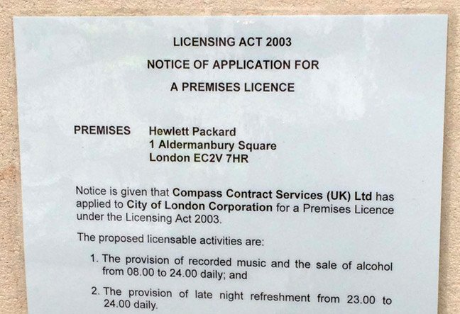 The HPE planning application attached to the building