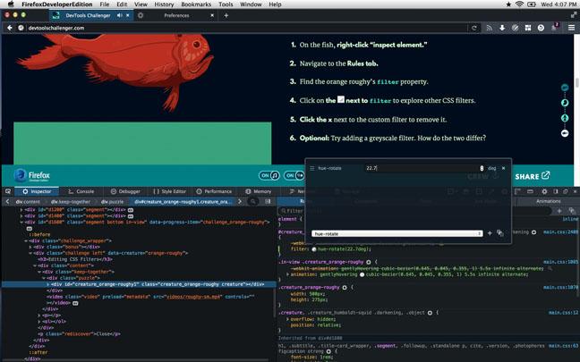 FF dev CSS filter editor GC