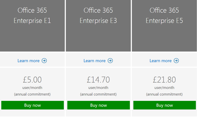 Office 365 Enterprise Plans, now including E5