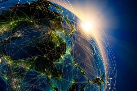 World with light lines representing connectivity connecting various foci on the globe. Pic via Shutterstock
