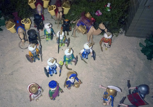 The Playmobil Magi and their crew square up to the Romans