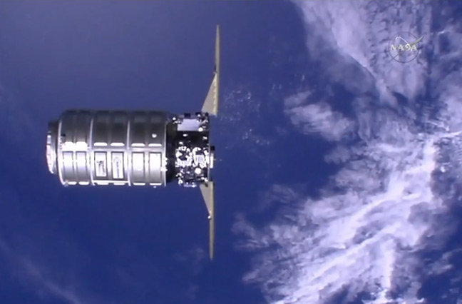 Cygnus approaches the ISS yesterday. Pic: NASA TV