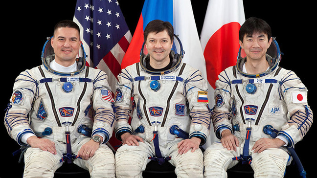 Kjell Lindgren of NASA, Oleg Kononenko of the Russian Federal Space Agency and Kimiya Yui