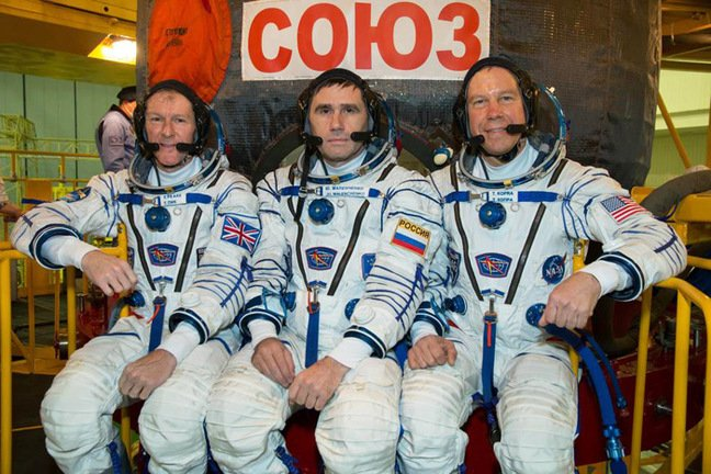 Tim Peake, Yuri Malenchenko and Tim Kopra