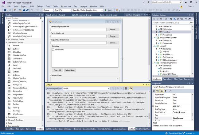 Live Writer code in Visual Studio