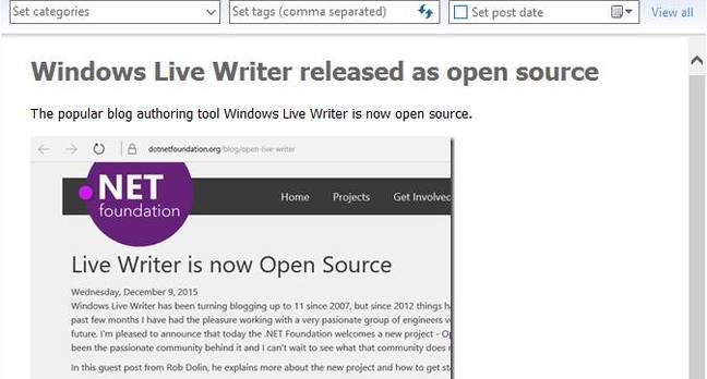 Open Live Writer is released as open source