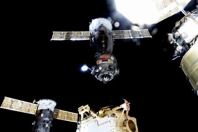 The Soyuz capsule departs the ISS. Pic: Scott Kelley