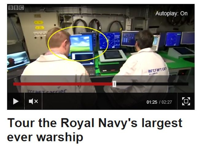 Windows XP screensaver on deck of new Royal Navy aircraft carrier