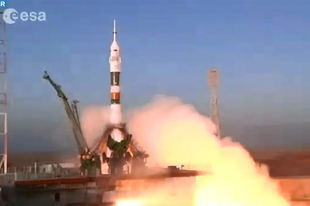 The Soyuz launch this morning. Pic: ESA