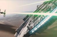 TIE Fighters and Millenium Falcon credit Lucasfilm Disney