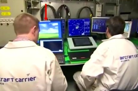 Screengrab of a control room in new Royal Navy aircraft carrier. One of the screens sports unmistakable Windows XP desktop
