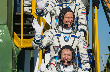 European Space Agency (ESA) astronaut Tim Peake, NASA 'naut Tim Kopra and cosmonaut Yuri Malenchenko before entering the Soyuz yesterday