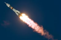 The Soyuz blasts off from Baikonur